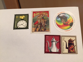 five stamps totaling $1.82